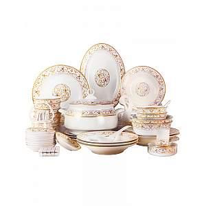 66Pcs Gold Ceramic Dish Set