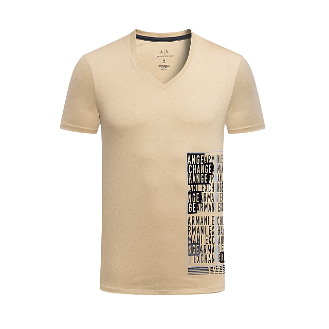 Armani Exchange PLACED PRINT TICKER V NECK, Logo T S...
