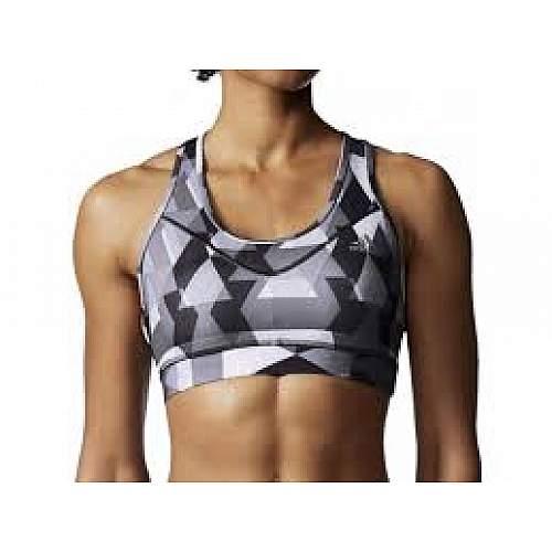 Adidas Tech Fit Printed Lady Sport Bra - Black Grey