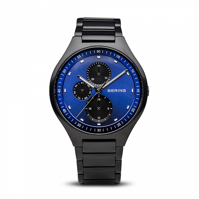Titanium, Blue Dial with Multifunction, Brushed Blac...