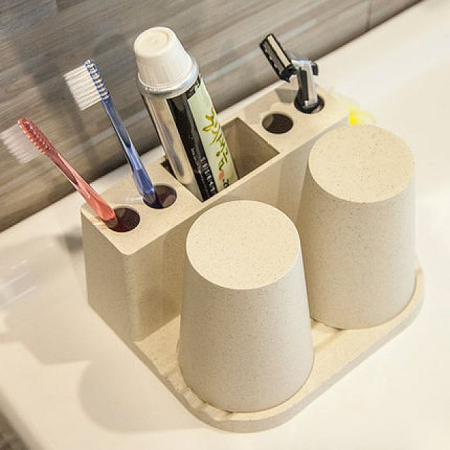 Toothbrush Holder & 2 Cups Set