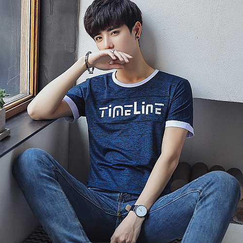 Navy Blue T-Shirt (Time Line) Blue