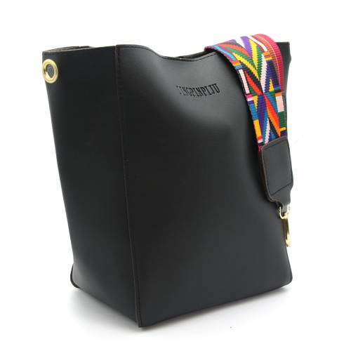 Black Leather BucketLady bag