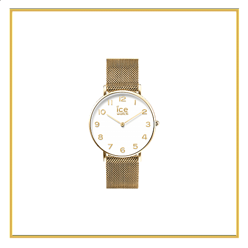 CITY milanese-Gold shiny-White dial-Medium-2H Size M