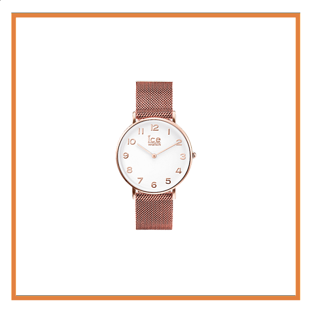 CITY milanese-Rose-Gold shiny-White dial-Medium-2H S...