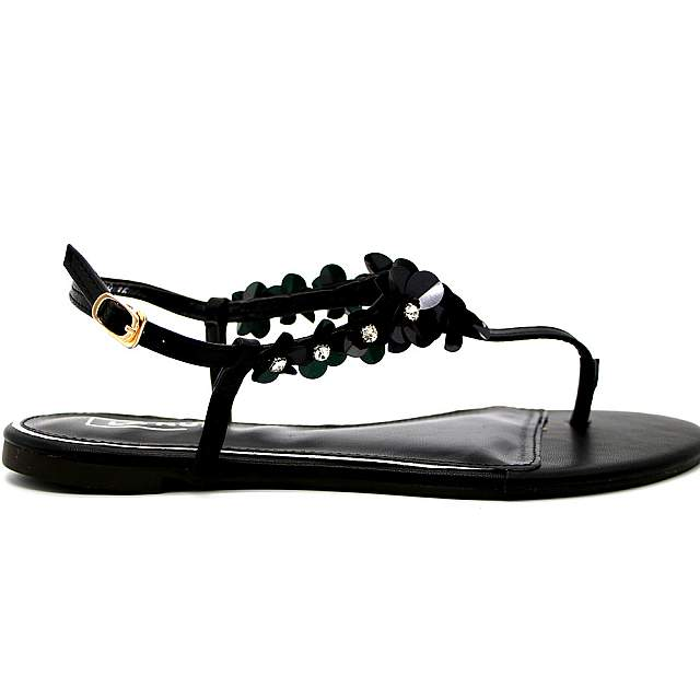 Ladies Floral Exclusive Sandals Shoes - Black
