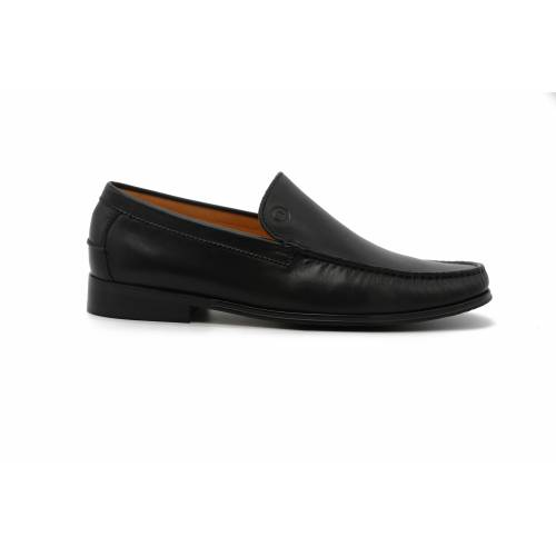 Burnished Leather Loafters - BLACK