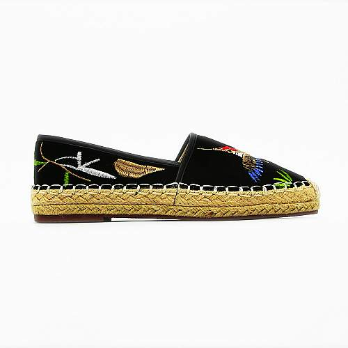 Ladies Embroidered Slip On Espadrilles Shoes - Black