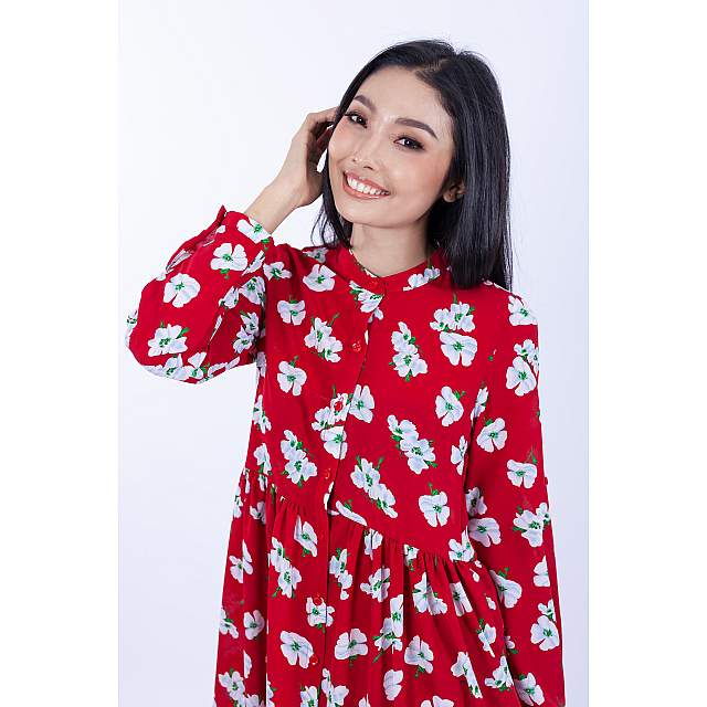 Button Down Babydoll Floral Dress [Red]