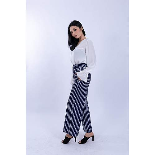 Striped Wide-Leg Pants [Blue]