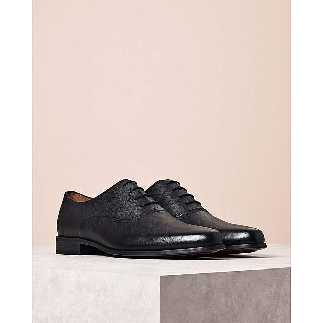 Embossed Burnished Leather Oxford Shoes