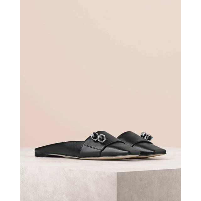 Embellished Leather Slip Ons