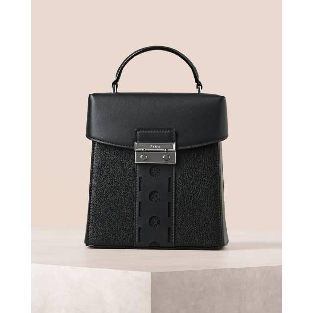 Embossed Push Lock Shoulder Bag