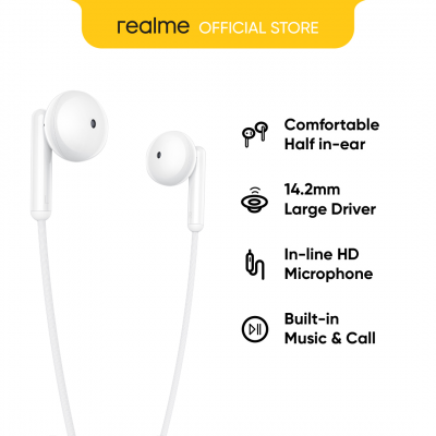 realme Buds Classic/ 14.2mm Large Driver/Half in ear Design/In-line HD/Built-in Music&Call/Tangle-free