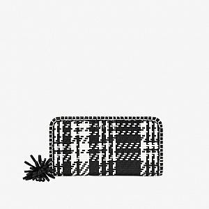 Woven Tassel Zip Around Wallet